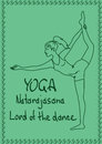 Outline girl in lord of the dance yoga pose illustration with slim Stock Photos