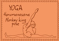 Outline girl in monkey king yoga pose illustration with slim Stock Images