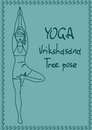 Outline girl in tree yoga pose illustration with slim Royalty Free Stock Photos
