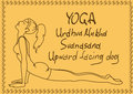 Outline girl in upward facing dog yoga pose illustration with slim Stock Photography