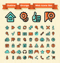 Outline grunge web icons set of for browsing media and communication in a effect Stock Image