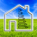 Outline of a home showing energy efficiency rating the based on consumption and the source the supply and whether it is eco Stock Photos