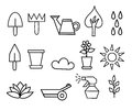Outline icon collection Flower and Gardening illustration