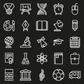 Outline icon collection. School education.