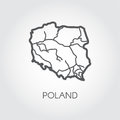 Outline icon of Poland map. Contour simplicity emblem. Vector shape of country for atlas and other design projects