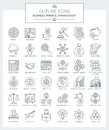 Outline Icons of Business and Finance