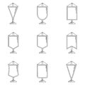 Outline icons for pennant black line collection of variations vertical on white background Stock Image