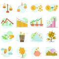 Outline icons set of flat design elements finance objects. Vector pictogram collection design concept.