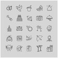 Outline icons - wedding, love set