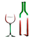 Outline illustration of bottle of wine and glass. Stock Photos