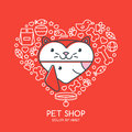 Outline illustration of cute cat and dog in heart shape.