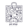 Outline illustration of cute cat and dog in shopping bag shape.