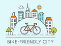 Outline illustration of modern city and touring bike bike friendly city sign traveling by bicycle concept Stock Photos