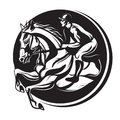 Outline of Indian ink horse riding, riding horse with jockey