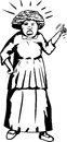 Outline of mad woman pointing cartoon senior shouting and finger Royalty Free Stock Photos