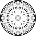 Outline mandala circular ornament. Intricate pattern. Vector
