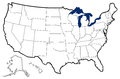 Outline map of united states detailed showing state borders great lakes and major bays Royalty Free Stock Photography