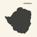 Outline map of Zimbabwe. illustration.