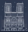 Outline Notre Dame Cathedral in Paris Royalty Free Stock Photo