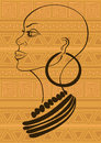 Outline portrait of beautiful african tribal girl on an ethnic patterned background Stock Images