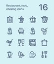 Outline Restaurant, food, cooking icons for web and mobile design pack 2