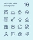 Outline Restaurant, food, cooking icons for web and mobile design pack 1