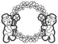 Outline round frame with shamrock contour and teddy bear. Raster