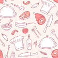 Outline seamless pattern with food elements in vector. Hand drawn illustration Royalty Free Stock Photo