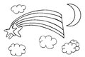 Outline sketch, Rainbow and Cloud Royalty Free Stock Photo
