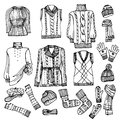 Outline sketchy females knitted clothing set fashionable female and accessories on style fashion illustrations vector Royalty Free Stock Image