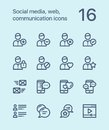 Outline Social media, web, communication icons for web and mobile design pack 1
