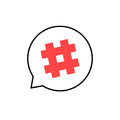 Outline speech bubble with red hashtag
