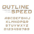 Outline speed alphabet font. Oblique letters and numbers in line style. Royalty Free Stock Photo