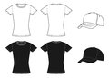 Outline template womens shirt and cap Royalty Free Stock Photo