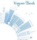 Outline virginia beach virginia skyline with blue buildings vector illustration business travel and tourism concept image for Stock Image