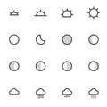 Outline weather icons isolated on white background. vector illustration