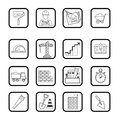 Outline web icon set. Building, construction vector tools Royalty Free Stock Photo