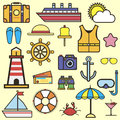 Outline web icon set of journey, vacation, cruise