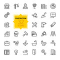 Outline web icons set - construction, home repair tools Royalty Free Stock Photo