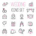Outline wedding day black and pink marriage icons set of icons for engagement get married love and romantic event bride