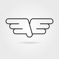 Outline wings icon with shadow