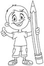 Outlined boy holding big pencil