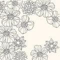 Outlined Doodle Flowers Vector Royalty Free Stock Images