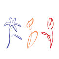 Outlined flower collection hand drawn Royalty Free Stock Photography
