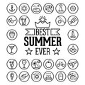 Outlined Funny and Cool Summer Icon Vintage Set Collection Royalty Free Stock Photo