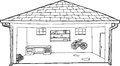 Outlined garage with bike and workbench outline cartoon of open residential Royalty Free Stock Image
