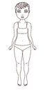 Outlined illustration of a girl in underwear on white background bra and panties colouring book page Royalty Free Stock Photography