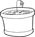 Outlined over watered seedling cartoon houseplant with wilted Royalty Free Stock Photo