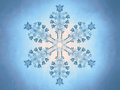 Outlined representation of a snowflake on a blue background referring to concepts such as wintertime snow cold weather meteorology Stock Photo