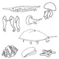 Outlined sea life vector illustration of set Royalty Free Stock Photo
